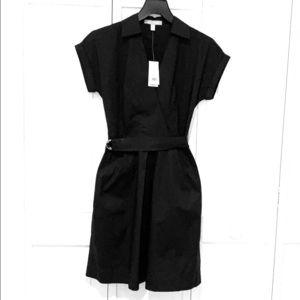 Short sleeve belted black dress